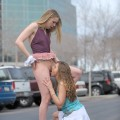 FTVGirlsirls: Anna & Amber: Public Lesbian Kissing and Licking