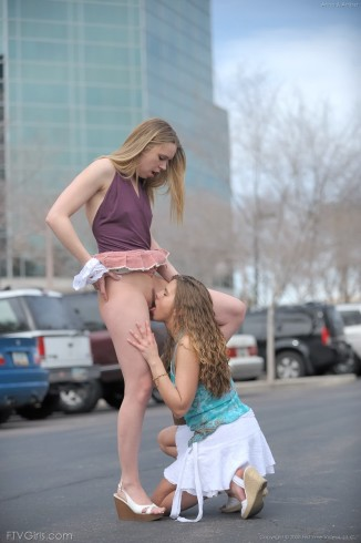 FTVGirlsirls: Anna & Amber: Public Lesbian Kissing and Licking